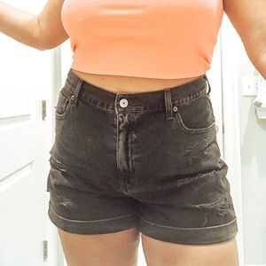 American Eagle Black High Waisted Mom Shorts